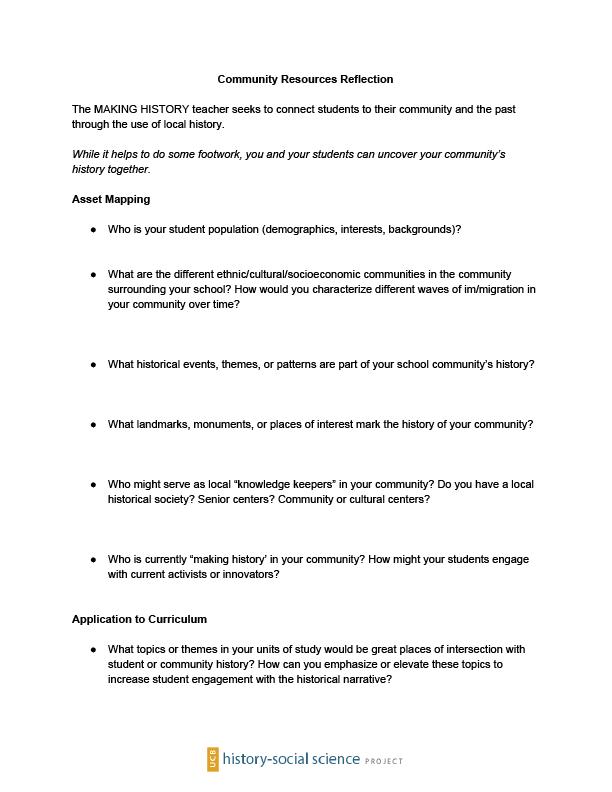 Community Resource Reflection